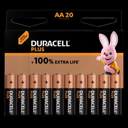 Duracell Plus Alkaline 100% AA 20 pack (LR6)