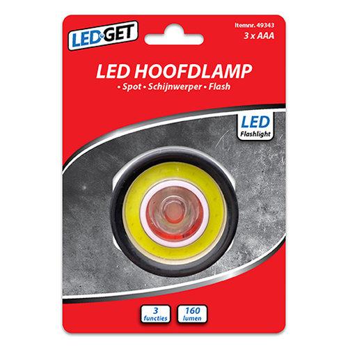 LEDGET hoofdlamp 1W+COB 3W LED