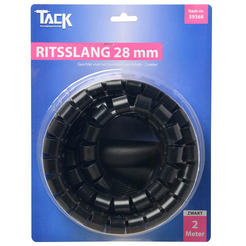 Tack Ritsslang 28mm 2 meter Zwart