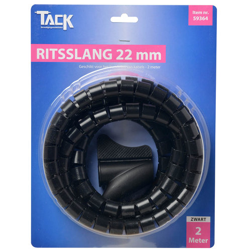 Tack Ritsslang 22mm 2 meter Zwart