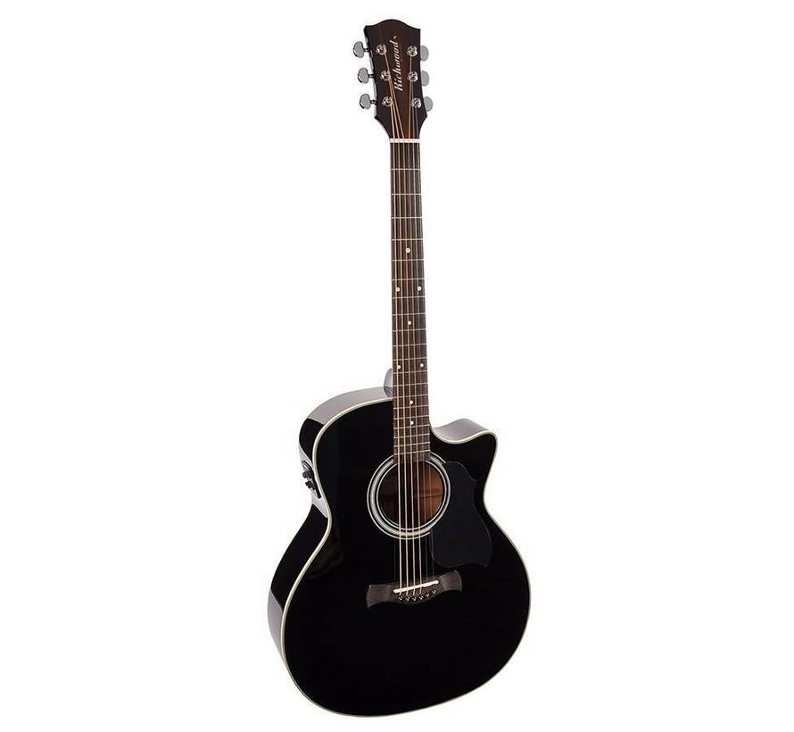 Richwood G-40-CEBK Semi akoestische western gitaar met stalen snaren