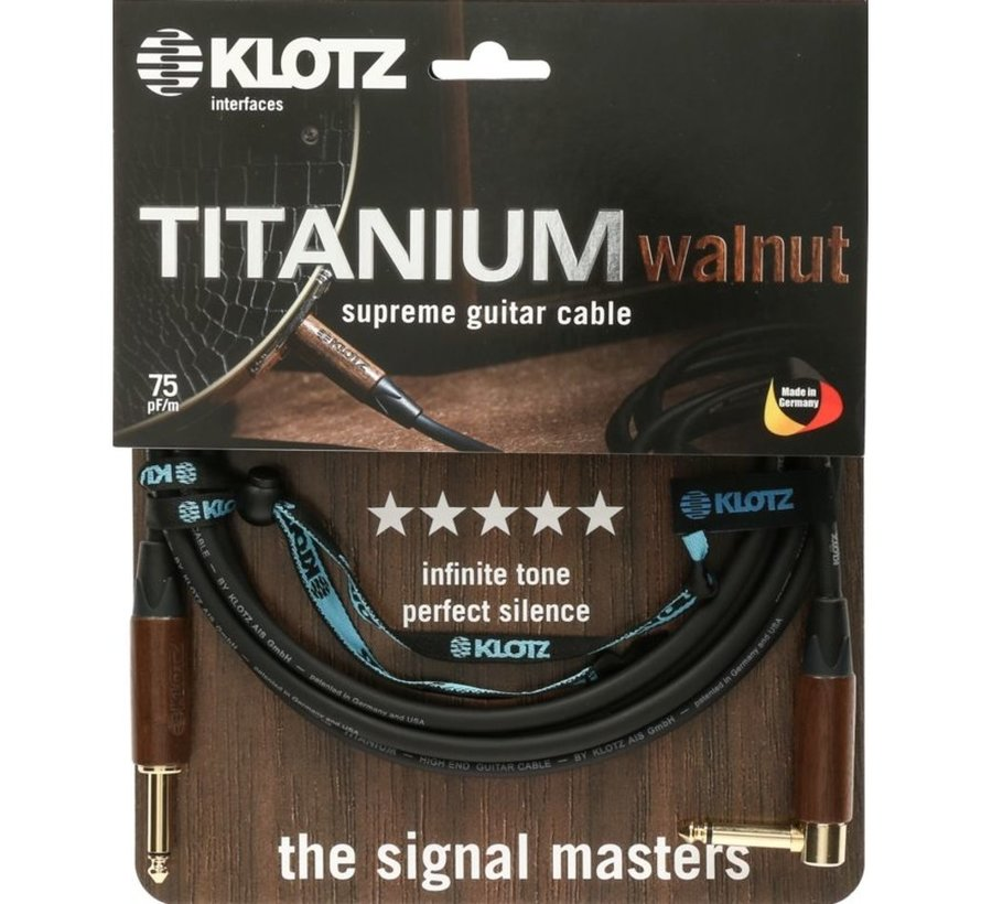 Klotz Titanium Walnut gitaarkabel - 3 meter