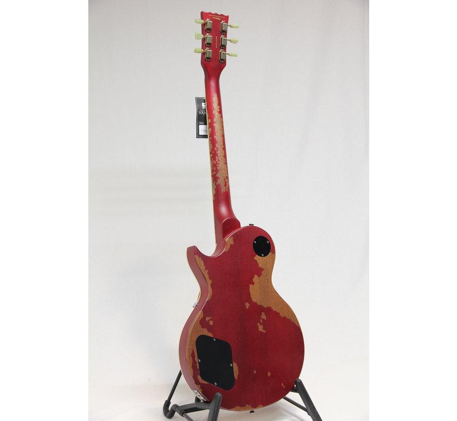 Vintage V100MRCS Distressed Cherry Sunburst Les Paul elektrische gitaar