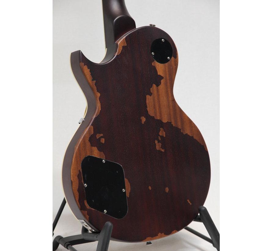 Vintage V100MRTSB Distressed Tobacco Sunburst Les Paul elektrische gitaar