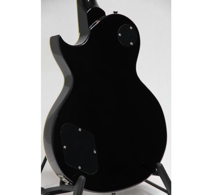 Vintage V100TBK Flamed Thru Black Les Paul elektrische gitaar