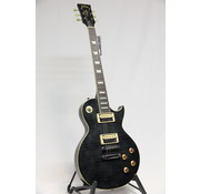 Vintage Vintage V100TBK Flamed Thru Black Les Paul elektrische gitaar