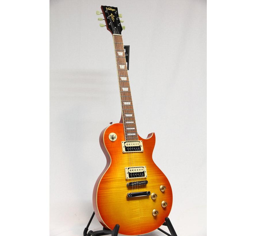 Vintage V100THB Flamed Honeyburst Les Paul elektrische gitaar
