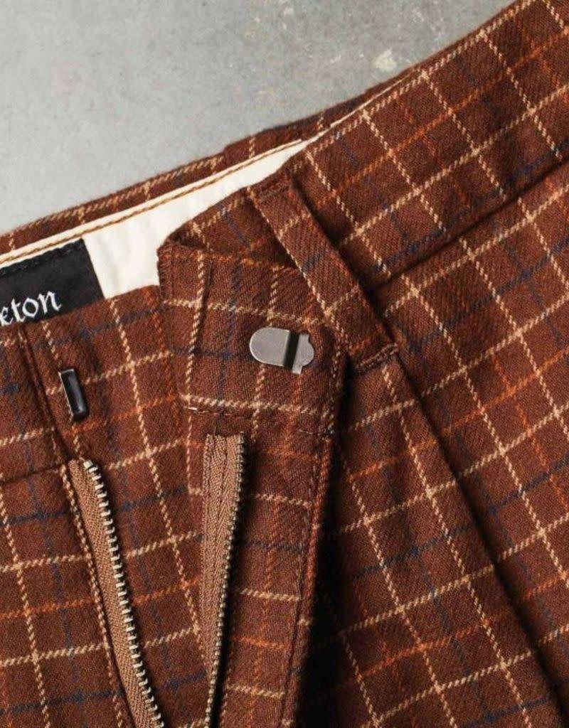 Brixton Regent Trouser Pant Brown/Plaid