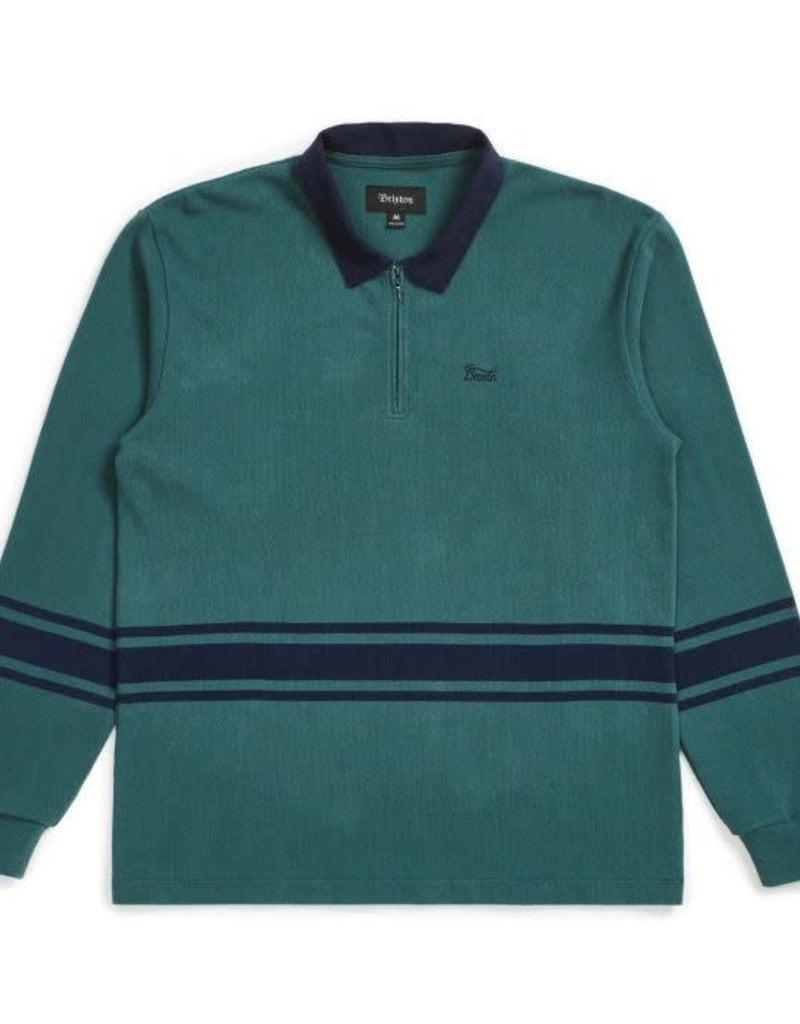 Brixton 1/4 Zip Polo Emerald/Washed Navy