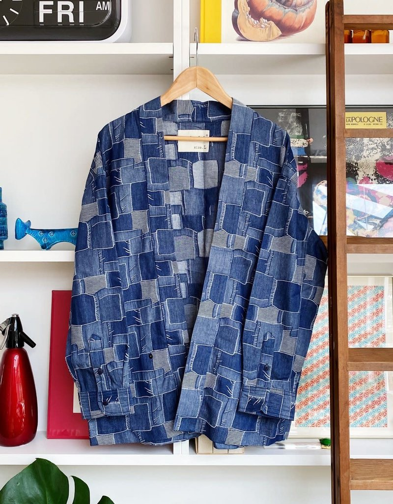 Kimono shirt 16005 jackard stripe dry