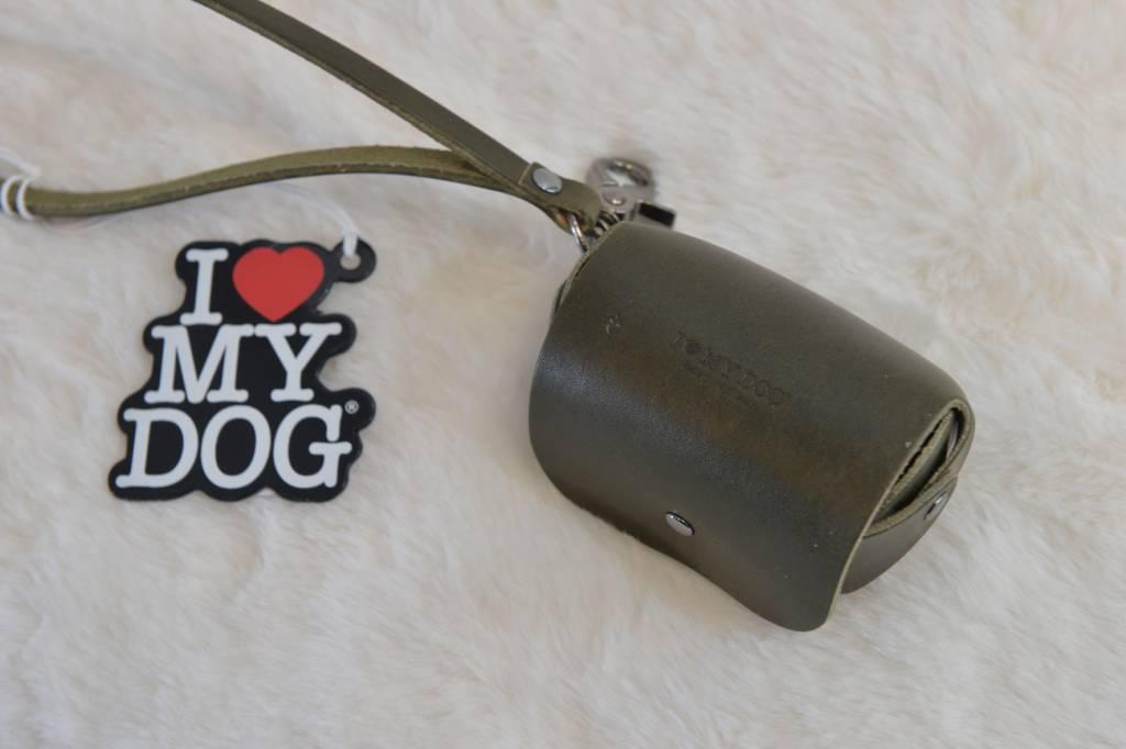 I love my dog poepzakhouder in leder