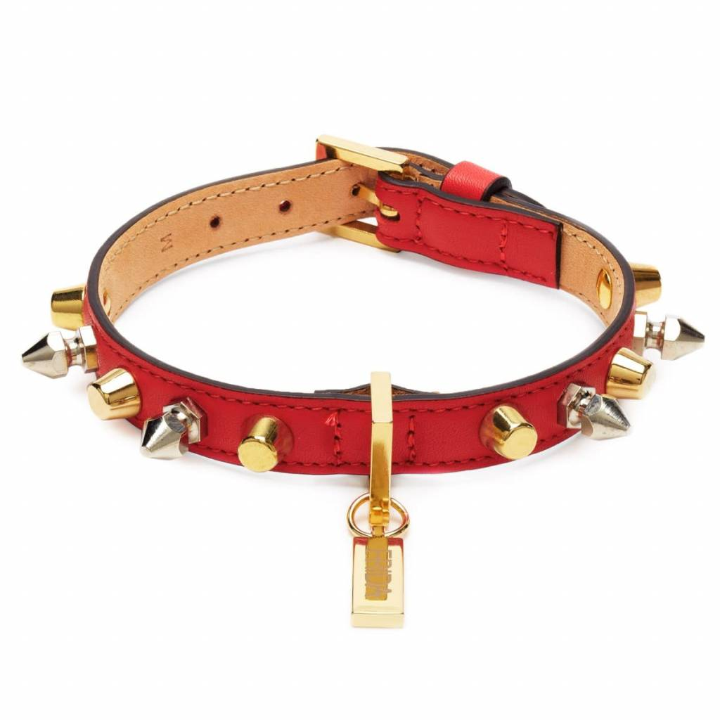 Frieda Firenze set rode halsband 40cm + lijn (leder)