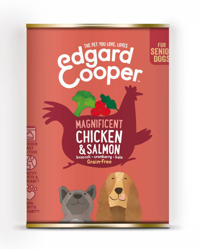 Edgard & Cooper blik 400gr kip en zalm senior