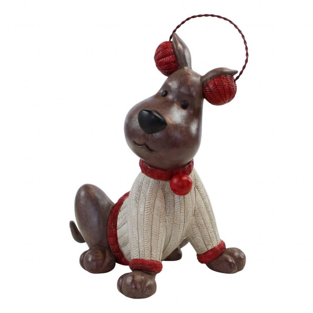 Happy house winter dog with headphone