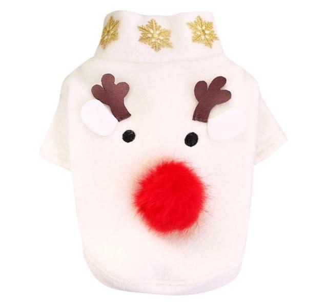 Snoef witte kerstjas met eland