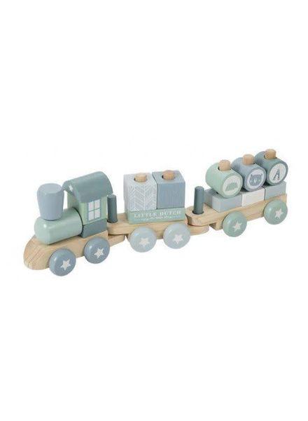 Little Dutch Houten blokken trein blauw