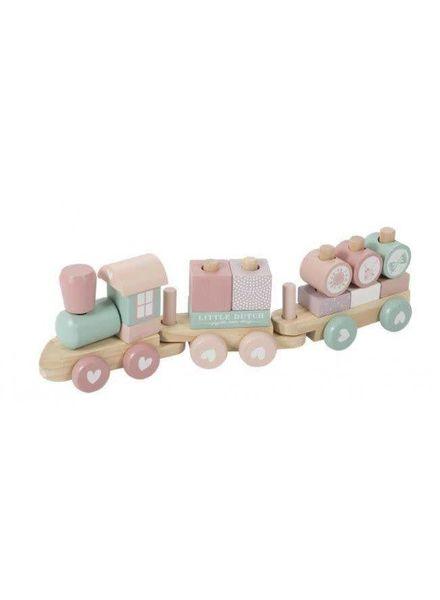 Little Dutch Houten blokken trein roze