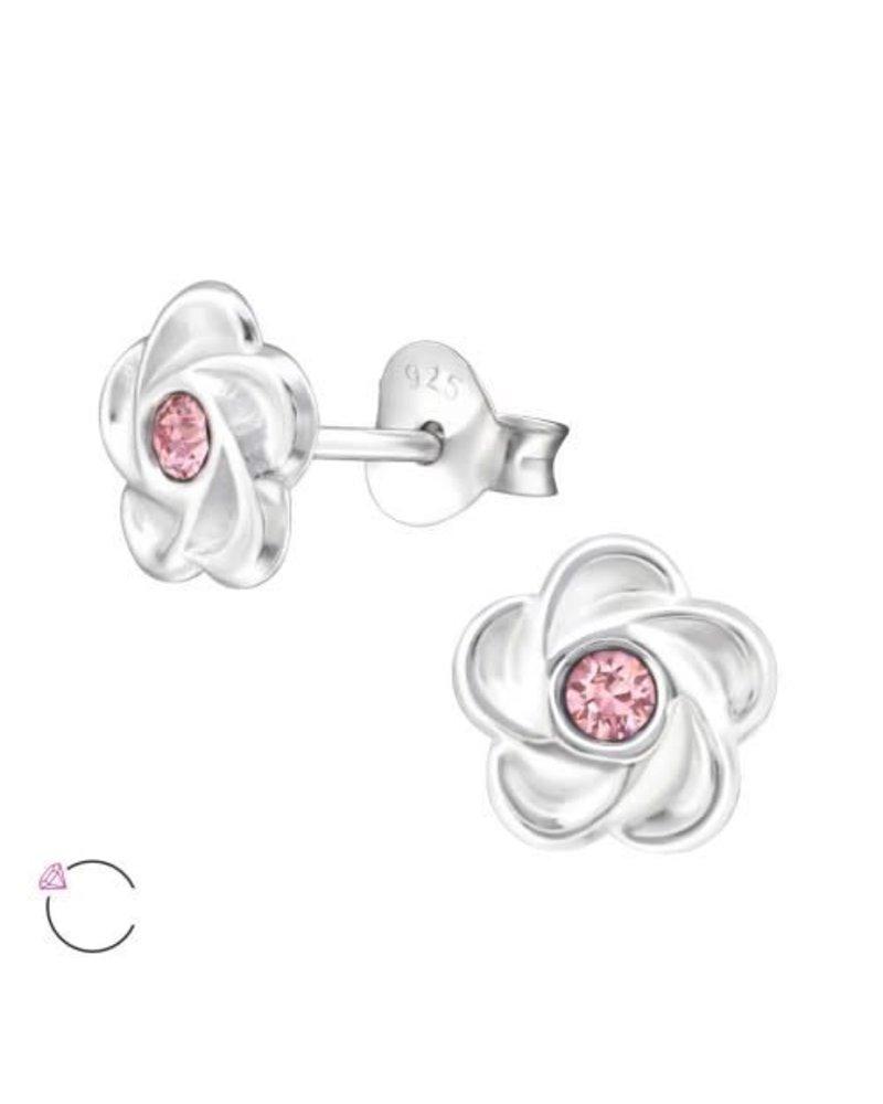 Bloem zilveren oorbellen