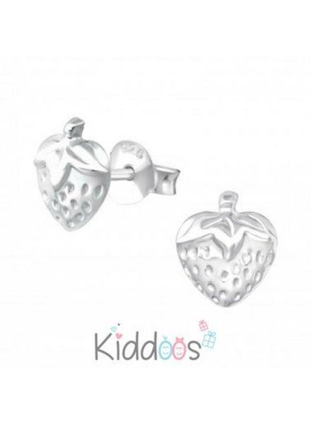 Aardbei zilveren oorbellen