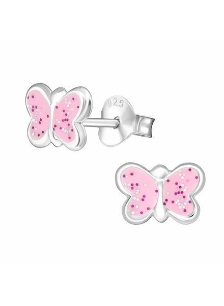 Zilveren oorbellen vlinder met glitters