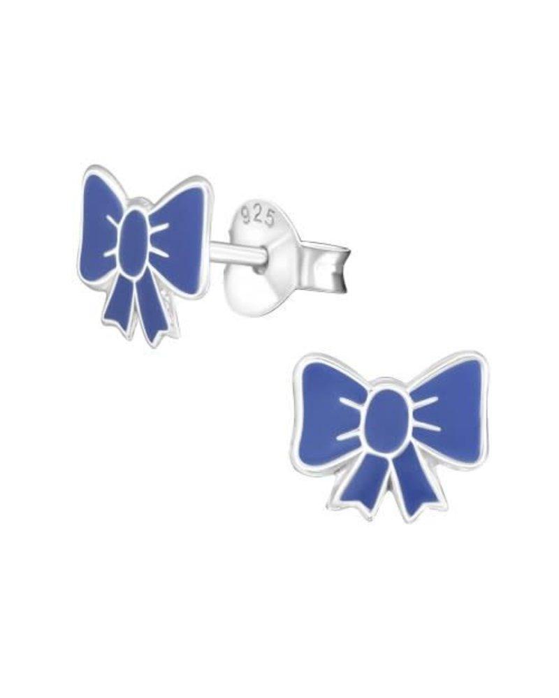 Zilveren strik oorbellen