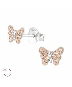 Zilveren vlinder oorbellen Swarovski