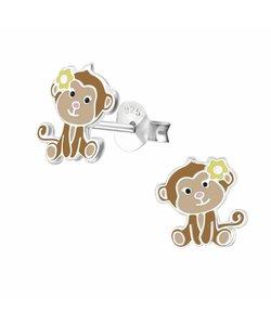 Zilveren oorbellen lief aapje met banaantje
