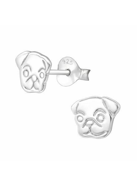 Zilveren hondjes oorbellen