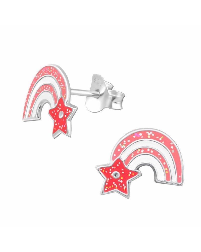 Zilveren oorbellen regenboog