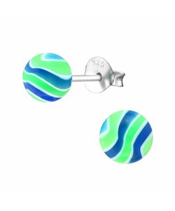 Zilveren UV ballen oorbellen