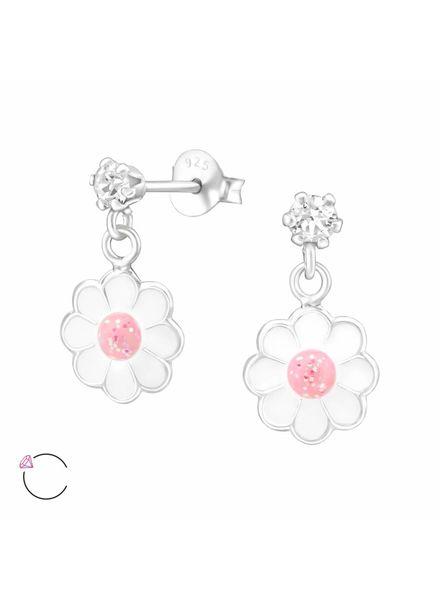 Zilveren bloem oorbellen Swarovski