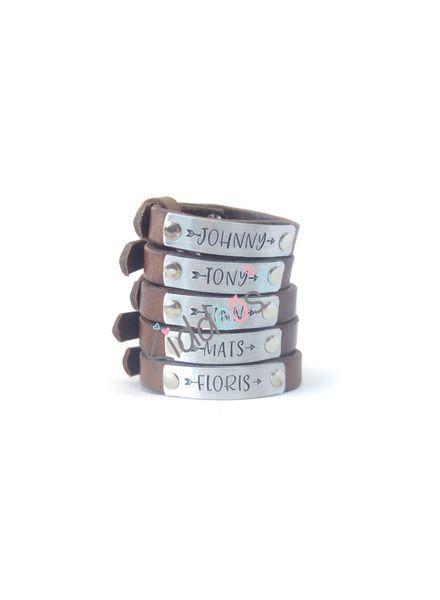 Naam armbanden leer (verstelbaar) Graffity
