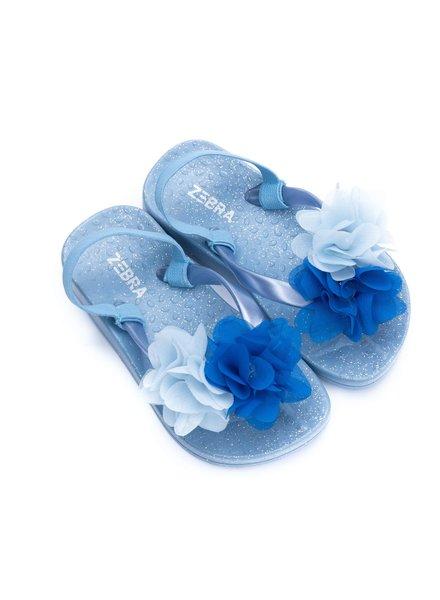 Zebra Slippers blauw met bandje