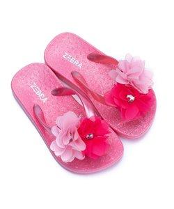Slippers roze met bloem