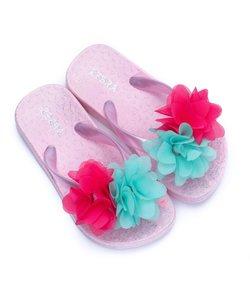 Slippers lichtroze met bloem