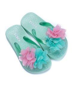 Slippers groen met bloem