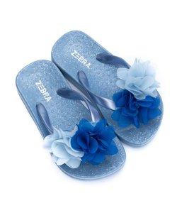 Slippers blauw met bloem