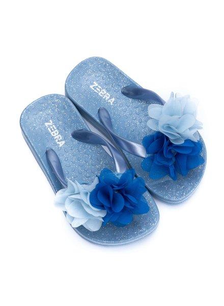 Zebra Slippers blauw met bloem
