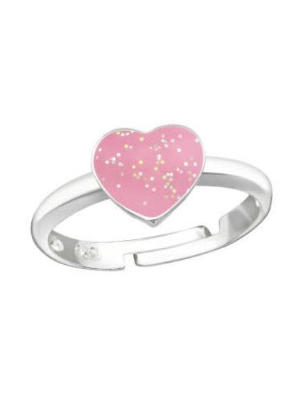 Zilveren ring roze hart