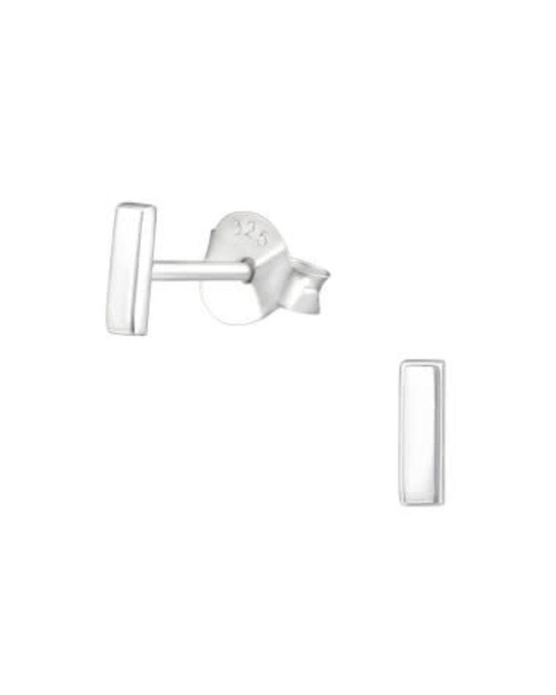 Zilveren oorsteker staafje kort