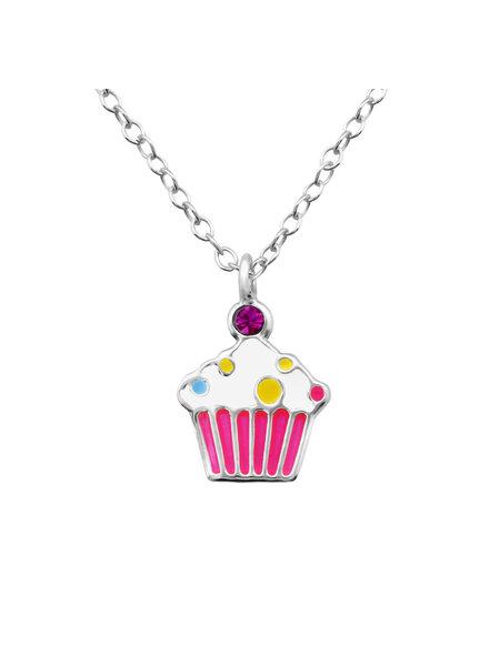 Zilveren ketting cupcake