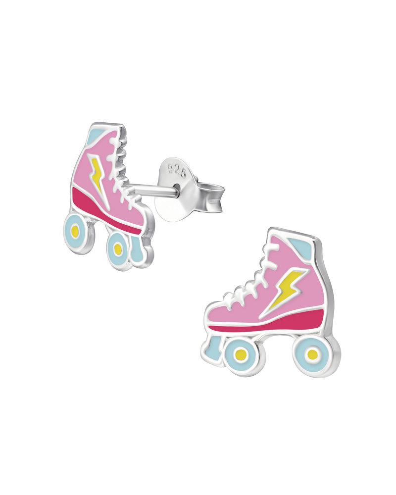 Zilveren rolschaats oorbellen