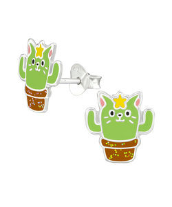 Cactus zilveren oorbellen