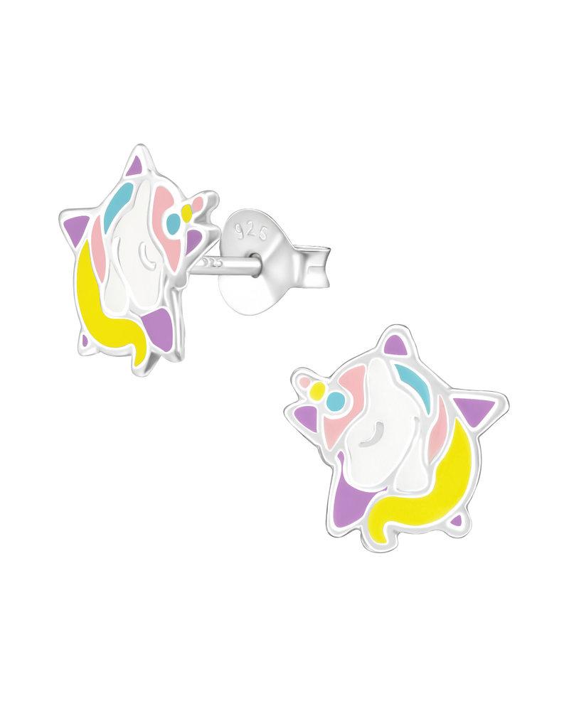 Eenhoorn ster zilveren oorbellen