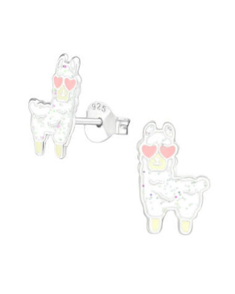 Zilveren alpaca oorstekers