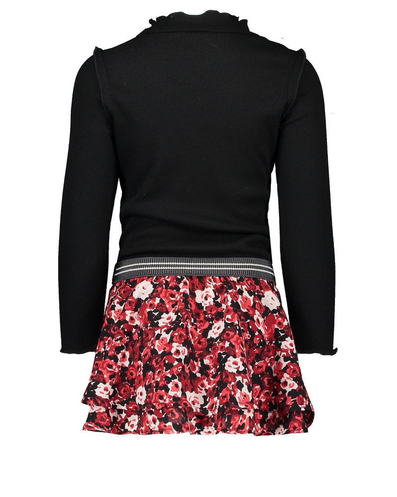 Like Flo Flo girls rib turtle neck ls dress with woven skirt