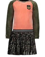 Like Flo Flo girls velvet colour block dress, flower plisse skirt