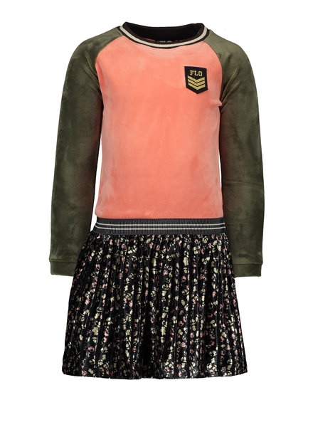 Like Flo Flo girls velvet colour block dress, flower plisse skirt