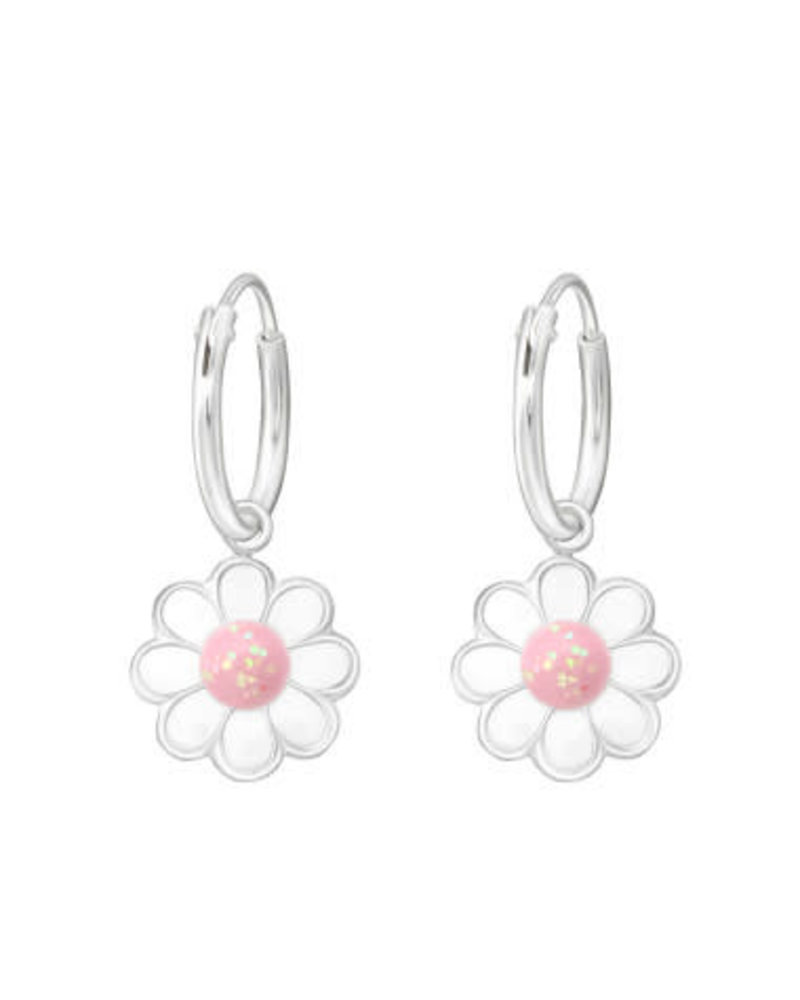 Zilveren bloemen oorbel