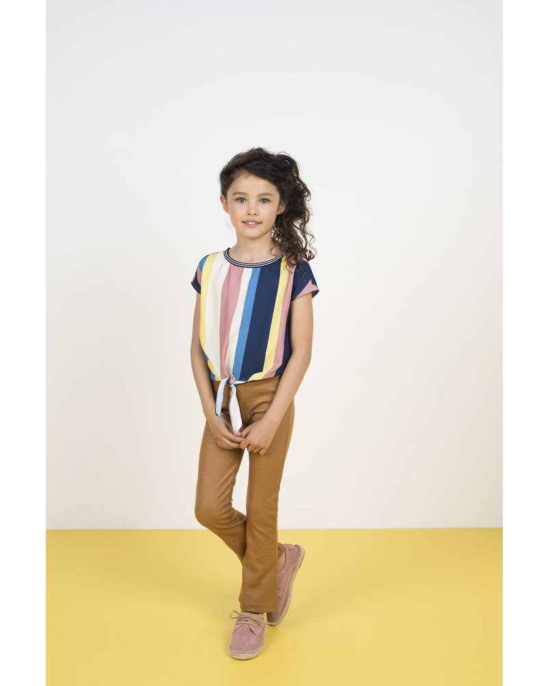 Like Flo Flo girls multi stripe knotted top
